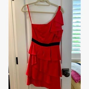 BCBGMaxAzria Red One Shoulder Dress